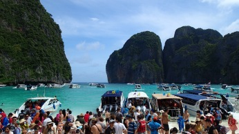 A few people checking out the beach on the Phi Phi Island