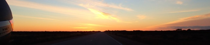 Looking back at the sunrise over the Nullabor