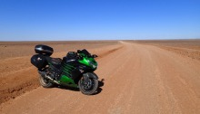 Kawasaki ZX14r out the back of Coober Pedy