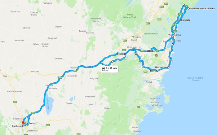 Canberra Day 2019 - route