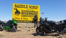 An appropriate sign on a Saddlesore 1600 ride with 1400GTR and ZX14R